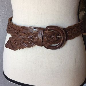 Accessories - Leather Braided Fishtail Brown Belt